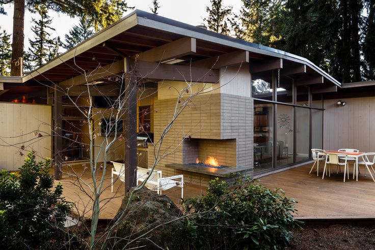 Delightful Outdoor Fireplace home designing tips Midcentury Deck Portland