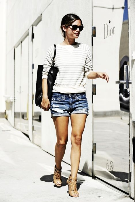 jean shorts, long sleeve stripe.  Rachel Bilson always pulls it together.