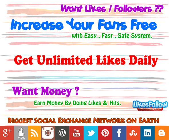 You Can Get Facebook likes Fast, increase Youtube views,Free Twitter Followers. Also buy Facebook fans, photo/post likes, shares, retweets and Website Hits.