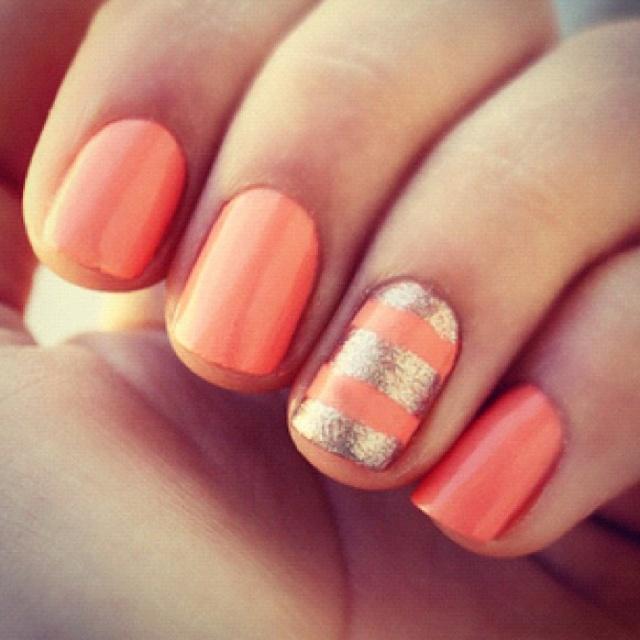 coral & gold, i would absolutely do thisNails Art, Gold Nails, Accent Nails, Spring Nails, Nailsart, Summer Nails, Nails Polish, Stripes, Coral Nails