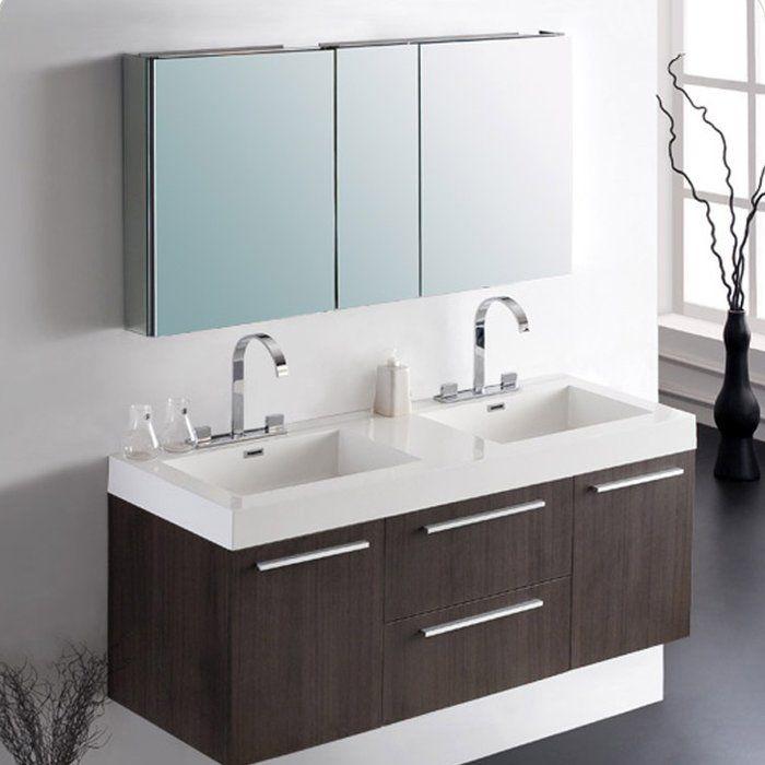Senza Opulento 54 Double Bathroom Vanity Set With Mirror Double Vanity Bathroom Bathroom Vanity Contemporary Bathroom Vanity