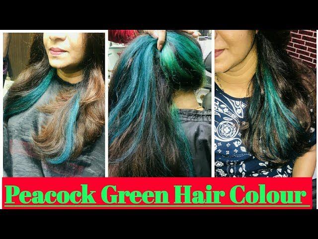 How To Peacock Green Hair Colour On Henna Hair Hindi Me Highlights Step By Step Tutorial Ea Green Hair Peacock Hair Color Henna Hair