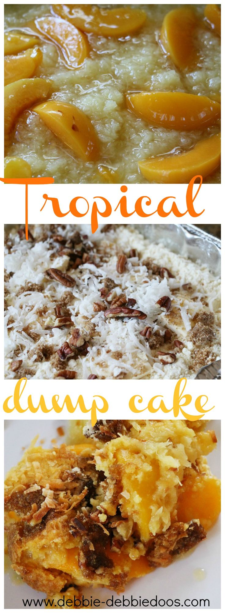 How to make a tropical dump cake with pineapple and peaches. You literally dump it all in. NO brainer dessert.