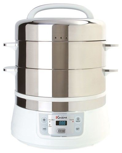 Euro Cuisine - 17-Quart Electric Food Steamer - Stainless-Steel - Angle_Standard #kitchen#cooking#steamer