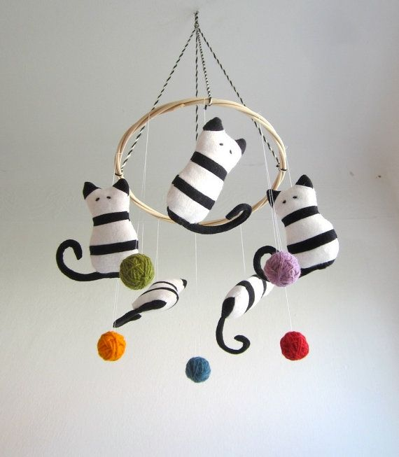 Crib mobile, cats, baby, kittens, black, white, colorful, nursery decor, shower gift, new baby, organic, eco friendly, cosy, stripes on Etsy, $96.00