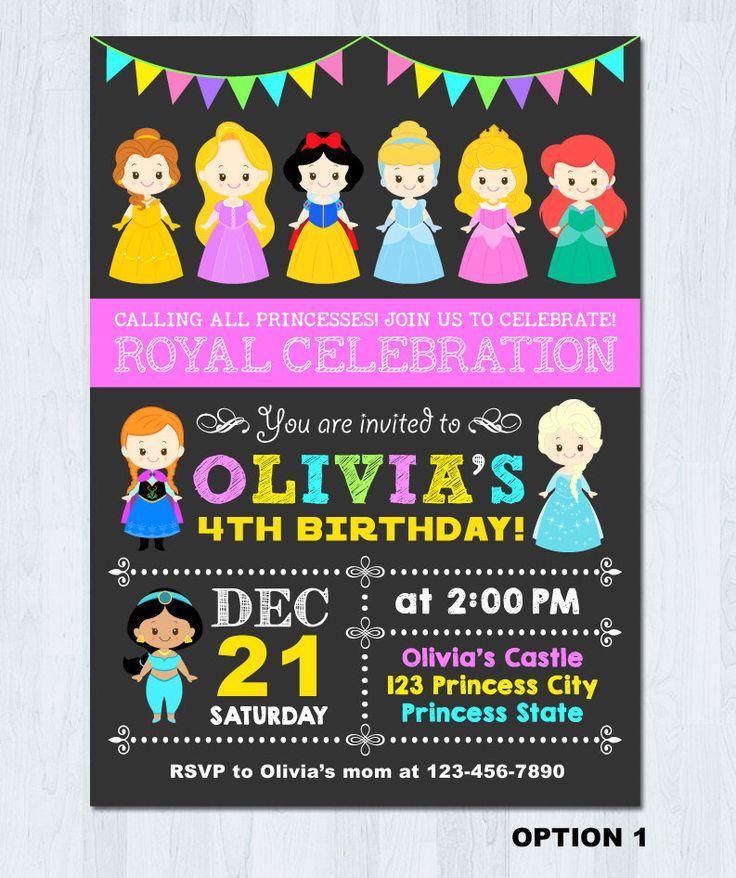 The 25 best disney princess invitations ideas on pinterest disney princess invitation disney princess birthday invitation princess invitation princess birthday invitation stopboris Images