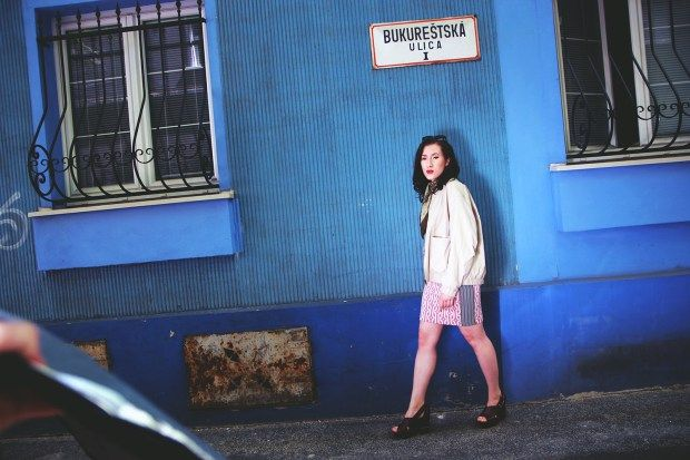 Blue wall portrait