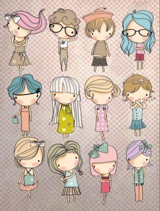 different cartoon children elements vector