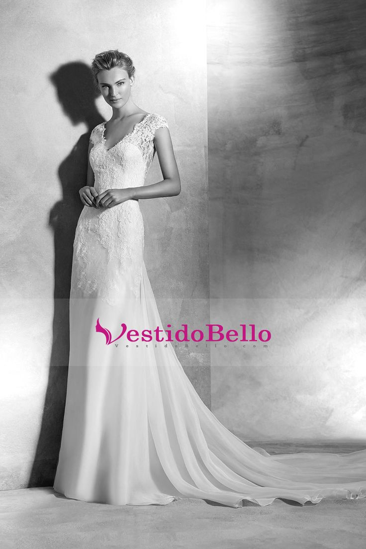 2016 V vestidos de novia cuello con apliques de gasa tren de la corte Cap mangas