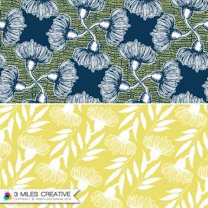 """Blue bush flowers"" & ""Yellow gum floral"" homewares surface pattern designs by Robyn Bockmann COPYRIGHT 2014."