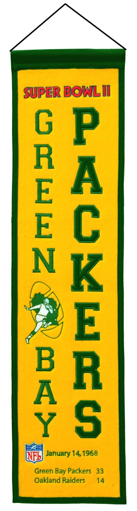 Super Bowl 2 Green Bay Packers 8x32 Wool Heritage Banner