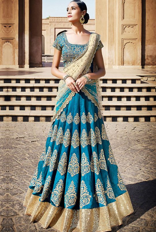 Elegant Firozi Bhagalpuri Bridal Lehenga. A perfect example of class, elegance, and sophistication. Perfect for any party and wedding wear.