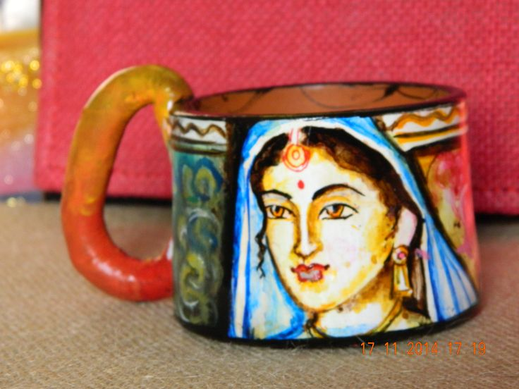 Terracotta Hand painted mug