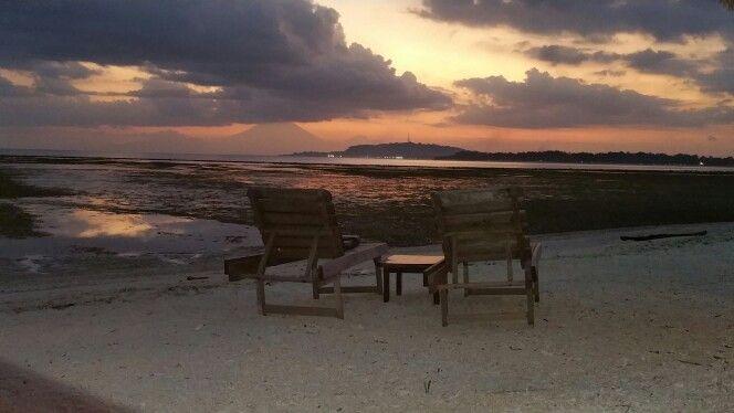 Sunset on Gili Air, view to Gili Trawangan and Bali, Mt. Gunung Agung