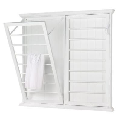 Home Decorators Collection Madison 46 in. W Fold-Down Wall Mounted Laundry Drying Rack in White-5345500410 - The Home Depot