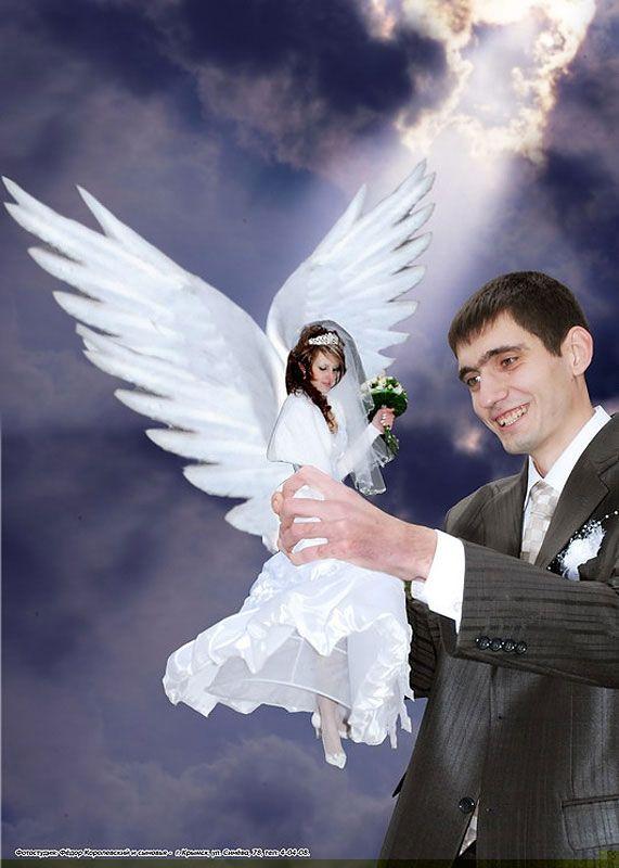 Wedding date with an angel.: Angel, Wedding Photography, Russian Wedding, Photo Ideas, Bridegroom Photo, Wedding Pictures, Akward Photo, Photoshop Mastery, Ideas Laughing