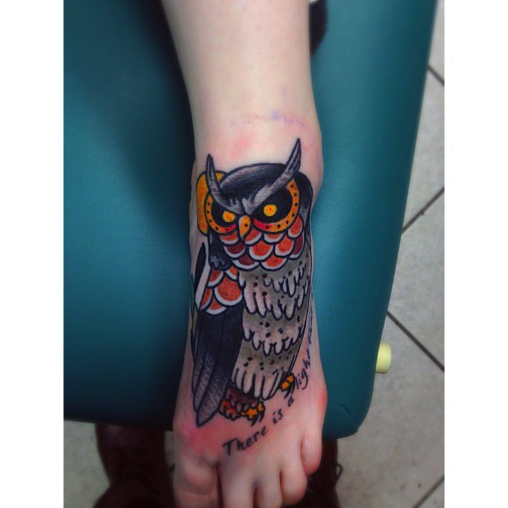 owl tattoo on the foot | do | Pinterest | Traditional Owl Tattoos Owl ...