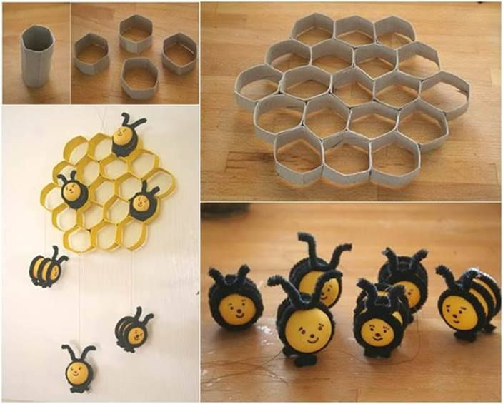 The kids will love making this cute little 'Beehive and Bees' decoration from toilet paper rolls.   So simple, so inexpensive!