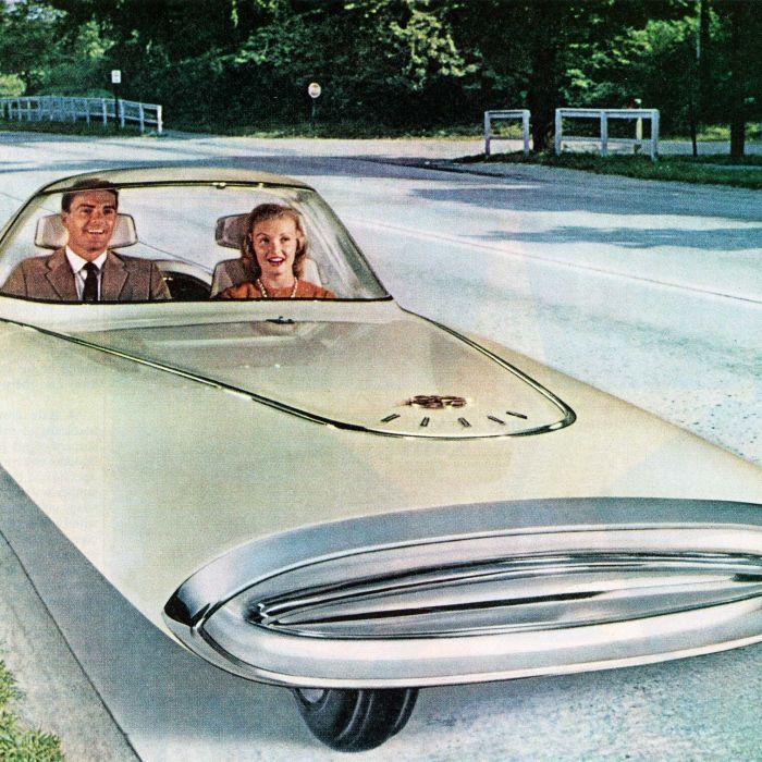 1961 illustration of a three-wheeled self-driving 'dream car'