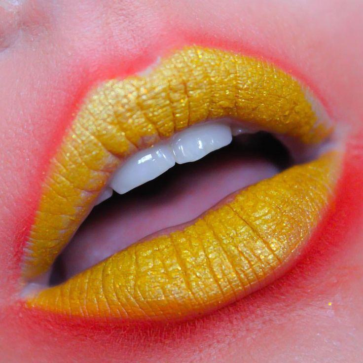 Acid brights lip art - lemon - sunset - Anastasia Beverley Hills lip palette