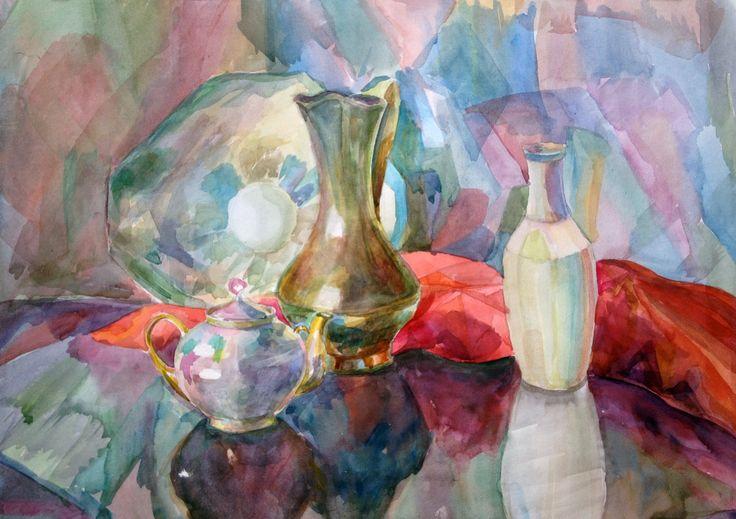 Lonely breakfast. Watercolor