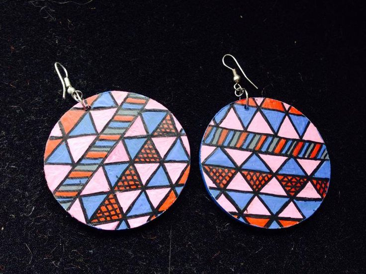 "Hand Painted earrings ""CIRCUS pattern"" :) ANAO"