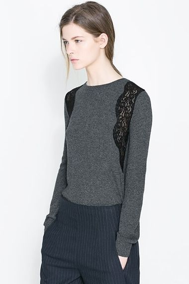 lace inserts- grey sweater