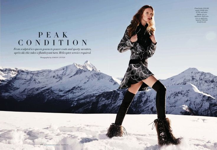 Peak Condition – For the September 2013 edition of Harper's Bazaar Australia. Model Holly Rose poses in the snow-filled images at the Whare Kea Lodge & Chalet in New Zealand.