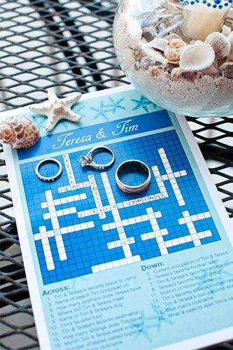 A crossword puzzle A custom crossword puzzle (which you can have made through Etsy sellers) is a surprising hit at a wedding. We especially love these for brunch weddings, because that's just what you do after brunch! And, by making sure that only some guests will know the answers to some of the questions, you'll encourage guests to mingle.RELATED: The Perfect Drink For Your Spring Wedding