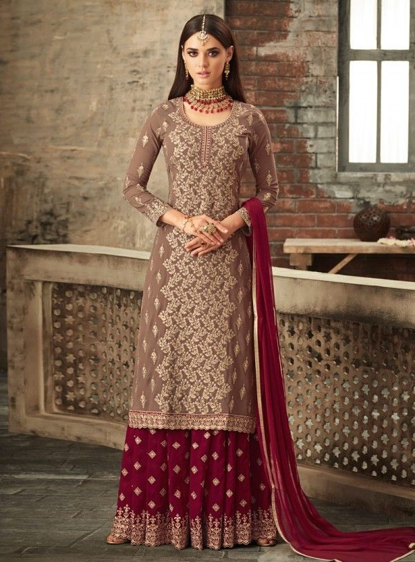 d1abff0725 Brown And Red Traditional Embroidered Palazzo Suit in 2019 | Gharara ...