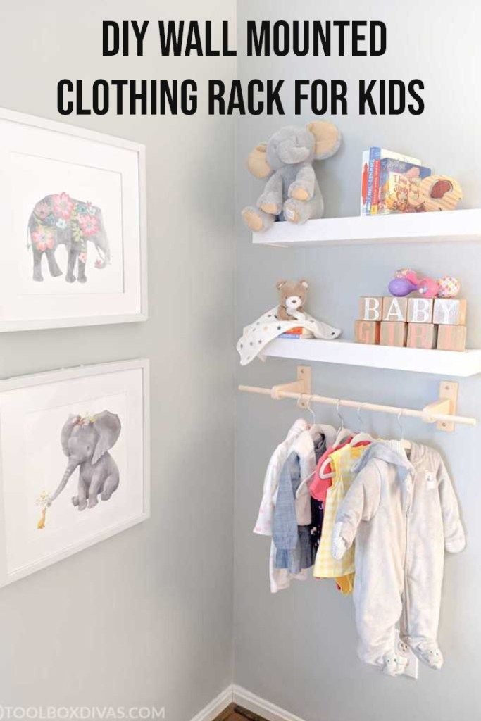 Diy Wall Mounted Clothing Rack For Kids A Nap Time Diy Toolbox Divas In 2020 Wall Mounted Clothing Rack Diy Wall Clothing Rack