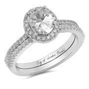 2CT Oval Cut Halo russische Lab Diamant Braut Set Ehering Ring   – Drum roll please….
