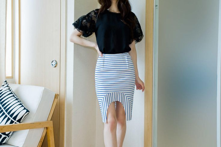 uneven stripe skirt from Kakuu Basic. Saved to Kakuu Basic Skirts. Shop more products from Kakuu Basic on Wanelo.