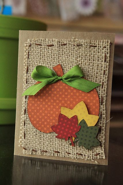 handmade Thanksgiving card ... burlap panel with hand stitched borer ... die cut pumpking and leaves from tonal polka dot papers in lush Fall colors ...                                                                                                                                                                                 More