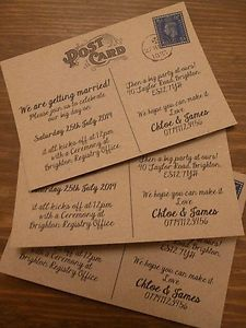 PERSONALISED INFORMAL VINTAGE POSTCARD WEDDING INVITATIONS 10,25,50,100 | eBay