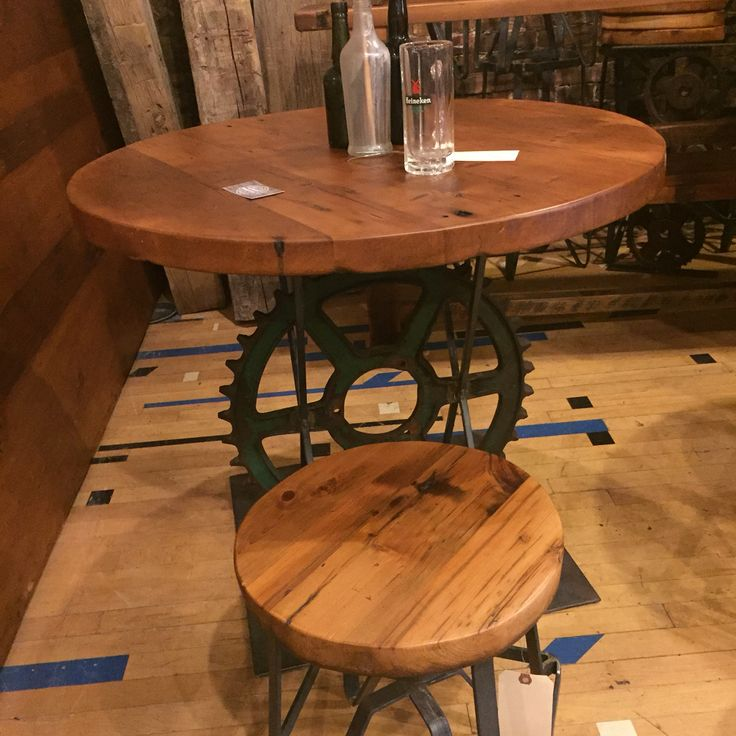 Table That Repurposed A Cog Wheel As The Base From Asbury