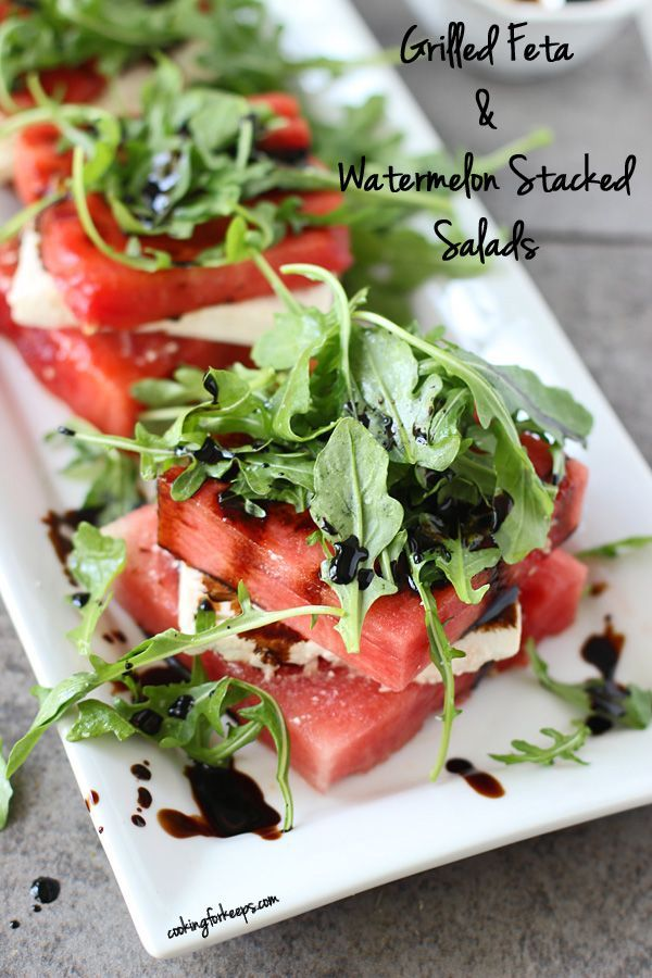 Grilled Watermelon & Feta Stacked Salad - salty, sweet, and so very refreshing.