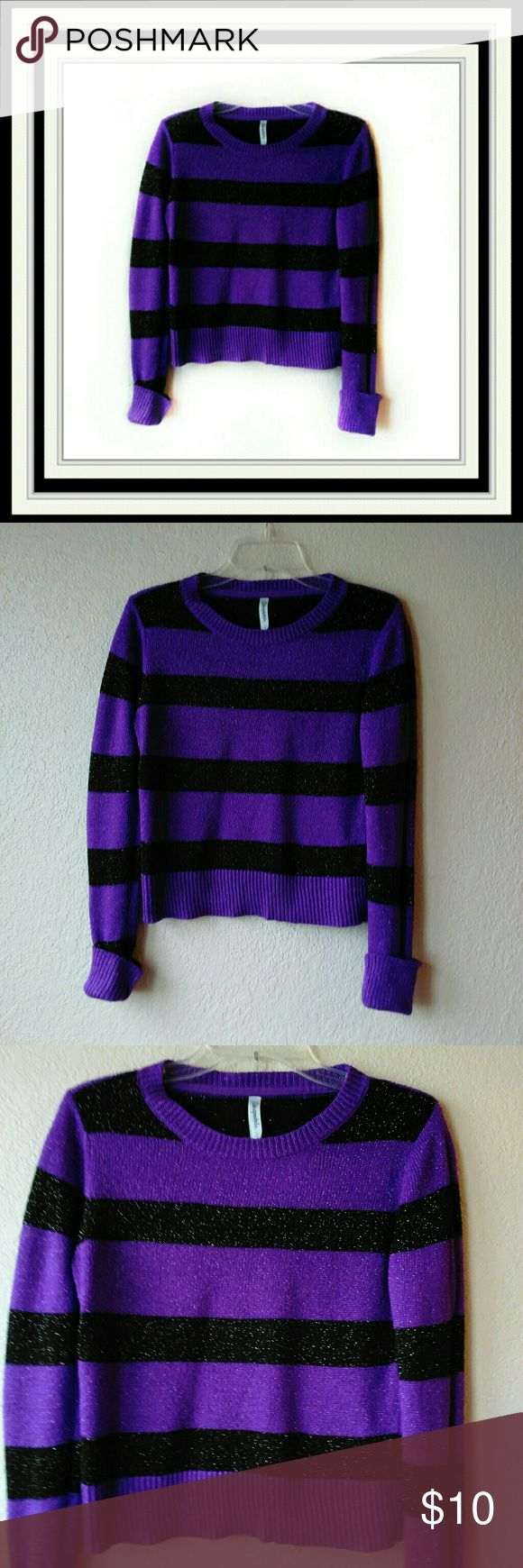 """Aeropostale Long Sleeve Sweater Plum/Purple and Black Striped with metallic threads throughout.  Size Large.  Chest is 19"""".  Length is 21"""".  Measurements are approximate in the flat position.  92% Acrylic, 6% Polyester, 2% other fiber. Aeropostale Sweaters"""
