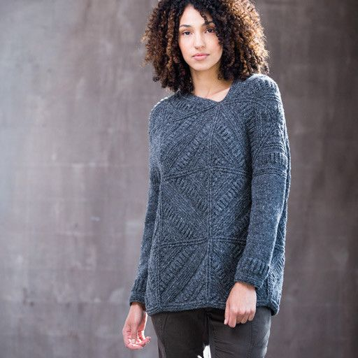Modular squares reminiscent of vintage quilts or tin-tiled ceilings draw the eye to this pullover designed by Norah Gaughan. Classic shaping makes it easy to wear, and an asymmetrical neck opening and block placement give it a modern air.