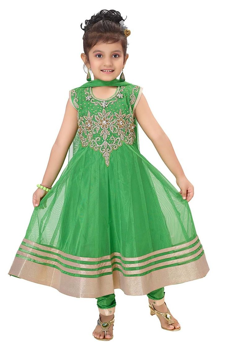 Make your baby girl stunning with this anarkali suit.  Item code: KDEW137GG http://www.bharatplaza.com/new-arrivals/kids-wear.html