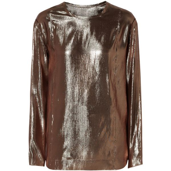 Lanvin Silk-blend lamé top (1.655 BRL) ❤ liked on Polyvore featuring tops, lanvin, shirts, long sleeved, metallic, lanvin shirt, brown long sleeve shirt, side slit shirt and long sleeve tops