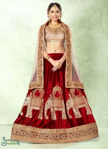 Maroon Velvet Circular Lehenga Choli with Lace and Sequince Work