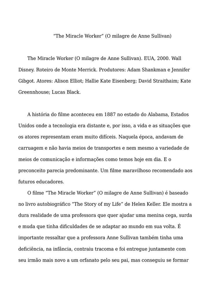 Resenha O milagre de Anne Sullivan - Artigos Acadêmicos - Tatianassilv