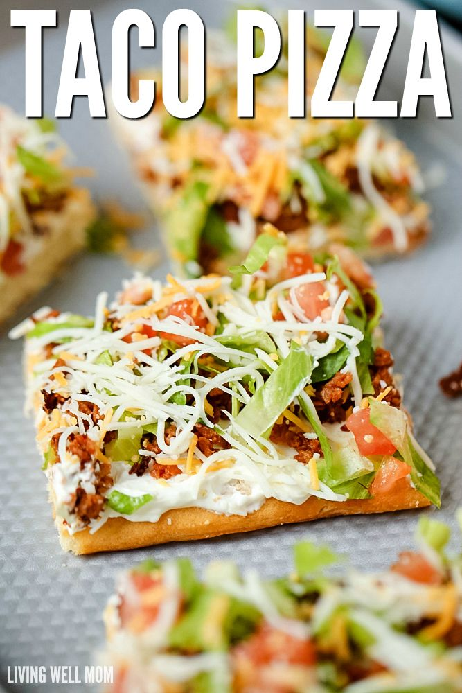 "Taco Pizza is an easy family dinner (you can even make it the night before) or a tasty appetizer. Kids love this recipe and the cream cheese/sour cream ""sauce"" and spicy taco flavor are a hit with adults too."