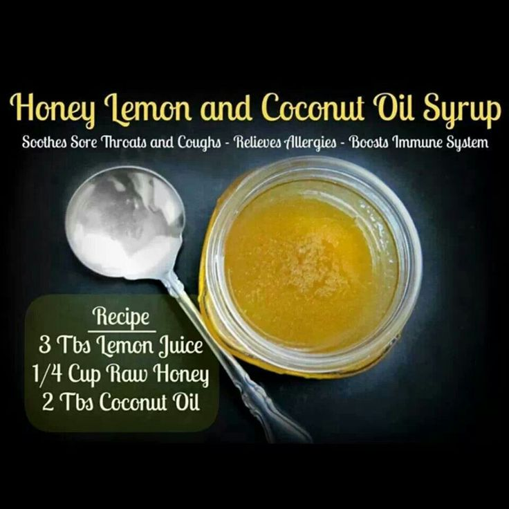 Sore throat and cough remedy using honey, lemon and coconut oil.