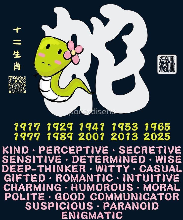 """""""CUTE SNAKE CHINESE ZODIAC ANIMAL PERSONALITY TRAIT"""" by"""