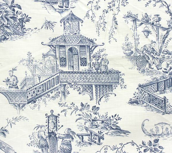 Toile fabric in cream blue willow pattern chinese for Oriental style wallpaper uk