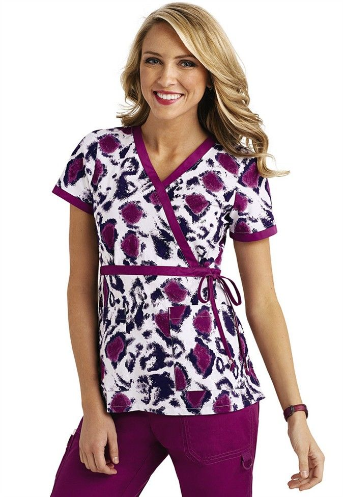 Koi Kathryn Wild Thing mock wrap print scrub top.