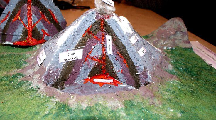Maqueta de las capas del volcán Popocatepetl. Realizada en base de Cartón, esculpida con estilete en unicel, terminada con pinturas acrílicas, plastilina, foamy verde para el pasto, resistol blanco y silicón frío.
