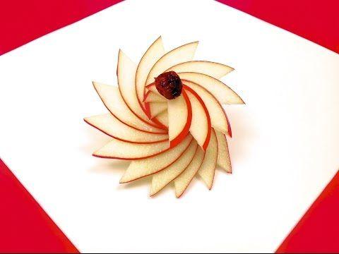 1 sculpture de fruit et légume: Comment Faire une Rosace en Pomme / How to Make a Rosette with an Apple